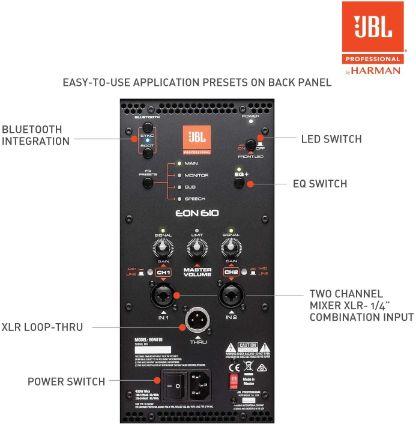 Opciones de conexión jbl eon610